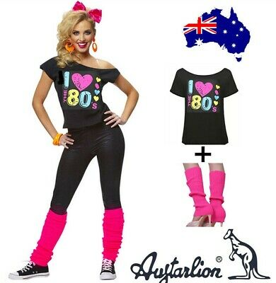 Xmas Gift Ladies I Love the 80s Top Party T-Shirt 1980s Fancy Costume&Leg Warmer