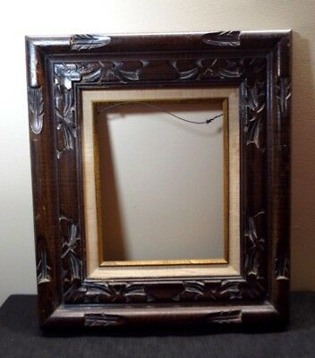 Vtg Mcm Hand Carved Wooden Picture Frame 18x16 95x75 Mexican
