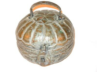 c.1700's-1860's COPPER TIN~ICE CREAM BOMB MOLD~GERMAN DUTCH HEX SYMBOL~HEPTAGRAM