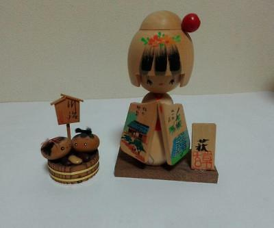 Kokeshi Japanese traditional craft cute rare popular vintage 2pcs set F / S!