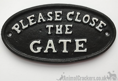 Heavy cast iron oval PLEASE CLOSE THE GATE field gate footpath sign weatherproof