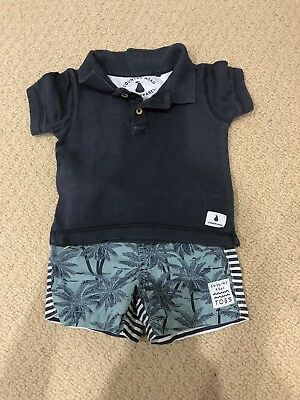 Boys Size 0 Country Road Boardies And Polo T-shirt Size 6-12 Months