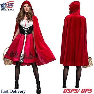 Adult Halloween Womens Little Red Riding Hood Casual Party Fancy Dress Costume