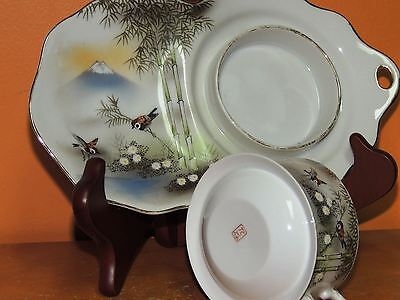 4 Kutani Hand Painted Snack Set Cup Saucer Eggshell China Nine Valleys Antique