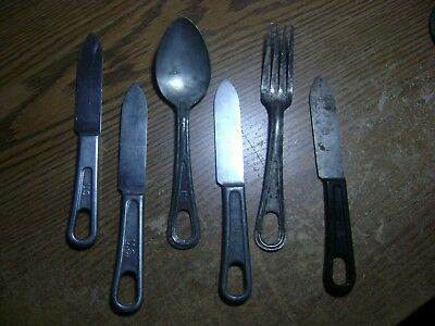 Lot of WWI & WWII US Army Navy Military Field Gear Mess Kit Eating Utensils