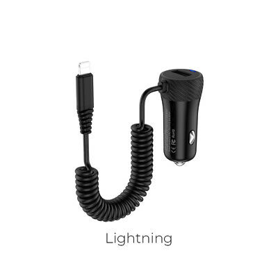 Single USB port car charger with built-in cable wire universal in-car charging