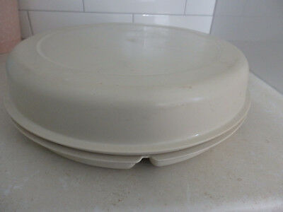 Large 2 piece.Tupperware Chip & Dip container . Beige Lid &  Base