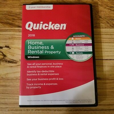 Quicken Home, Business & Rental Property 2018 2-Year  PC/Mac Free Shipping