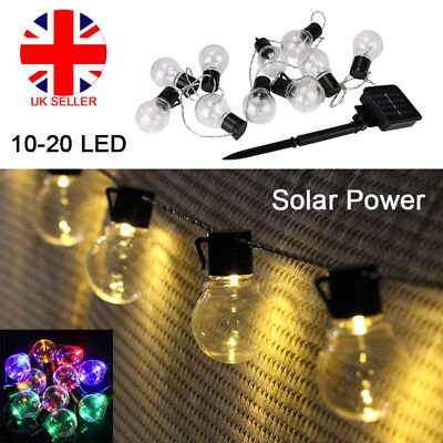 10/20 LED Solar Powered Retro Bulb String Lights Garden Outdoor Fairy Lamp BBQ