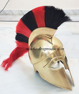Greek Corinthian Helmet W/RED & BLACK Plume Medieval Greek Armor Helmet Replica