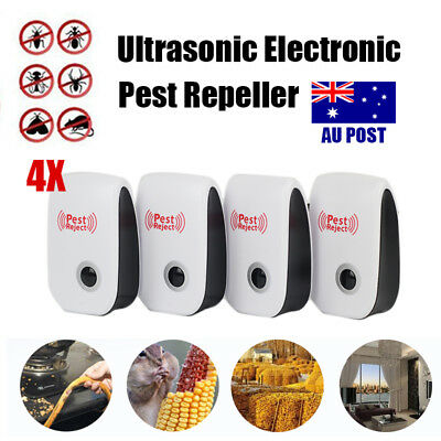 NEW 4x Electronic Ultrasonic Pest Control Mouse Insect Reject Repeller Killer AU