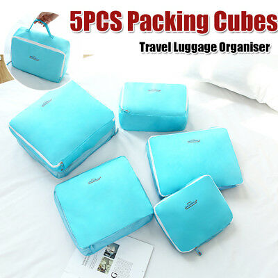 5x Packing Cube Organiser Travel Pouch Luggage Clothes Suitcase Storage Bags Set