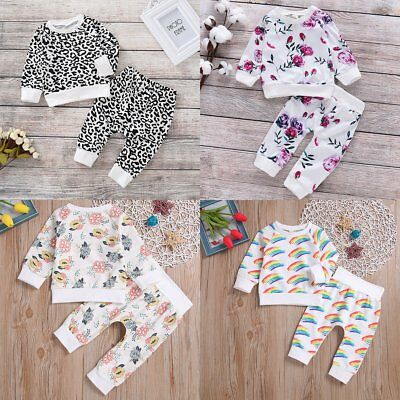 Toddler Kids Baby Boys Girls T-shirt+Pants Outfits Set Autumn Clothes Tracksuit