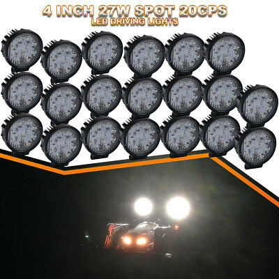 20xWork Round LED Light Bar Spot Driving Fog Lamp 4Inch For Snow Plow Truck Boat