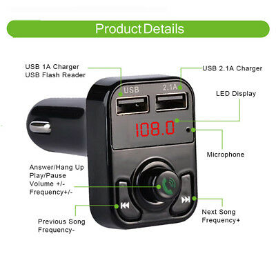 Bluetooth Wireless FM Transmitter Modulator Car Kit MP3 Player Dual USB Charger^