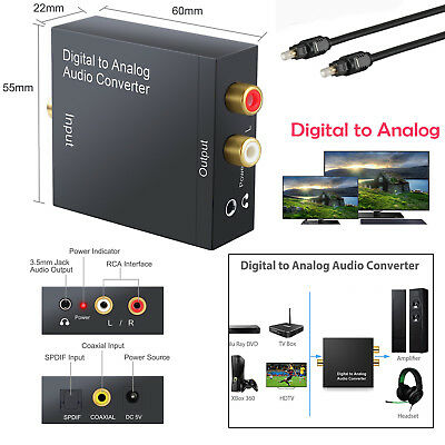Digital Coaxial S/PDIF Toslink Optical to Analog Audio Converter Adapter  L/RRCA