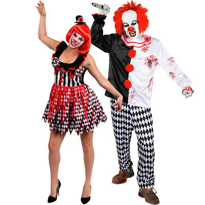 Deluxe Killer Clown Costume Halloween Horror Fancy Dress Outfit Mens Womens