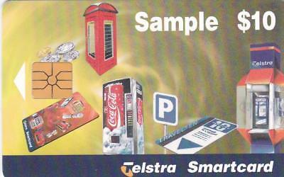 Telstra $10 Sample Smartcard Large Chip Coke Red Phonebox Etc T66