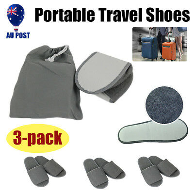 3x Portable Slippers Hotel Home Travel Guest Disposable Spa Shoe W/ Storage Bag