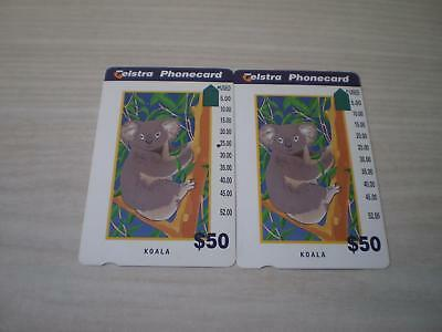 Telstra Redrawn $50 Koala Prefix 1284 1 Hole And 2 Hole Phonecards.scarce