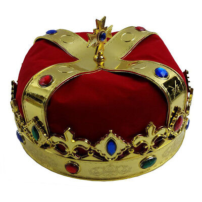 Adults Mens Red Jewelled Royal Queen King Prince Crown Fancy Dress Hat 6A
