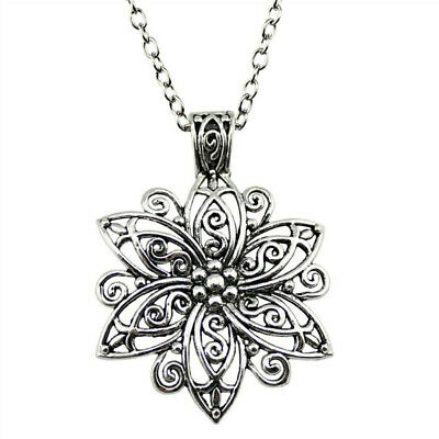 Ladies Ancient Silver Retro Flower Necklace Chain Charm Choker Jewelry B