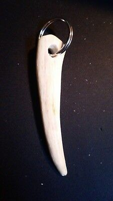 Handmade Key Chain with a Deer Antler Tip on a Silver Ring c20