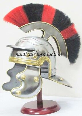 Roman Soldier Centurion LEGIONAIRE Steel HELMET ARMOR with sca RED BLACK PLUME