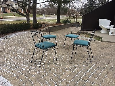 Mid Century Vintage 4 Patio/Dining Chairs Woodard