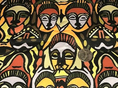 Fabric African Masks Hand Designed on Kona Cotton by the 1/4 yd