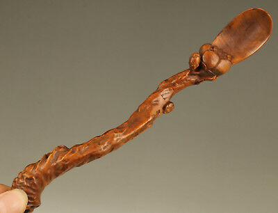 Rare chinese Boxwood hand carving plum blossom statue figure Tea Spoon gift