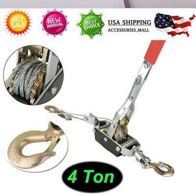 Come Along | 4 Ton Lever Hoist 2 Gear Power Puller Winch Hand Ratcheting 2 Hooks