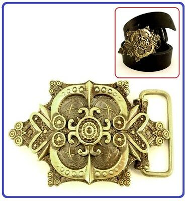 Exclusive Author's HandMade Belt Buckle Brass for Jeans Flower *Blossom Fern*
