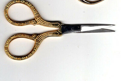 "Beauty Ambition Embroidery Scissors 4"" Decorative Gold Handles FREE P&P (UK"