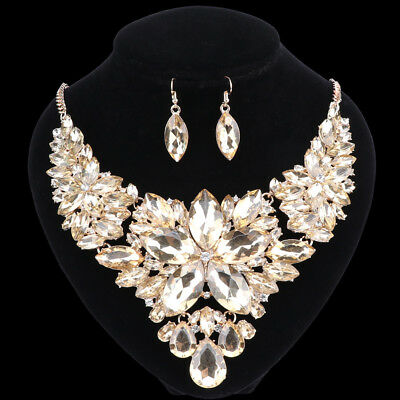 Women Luxury Gold/Plated Champagne Crystal Necklace Earring Party Jewelry Set
