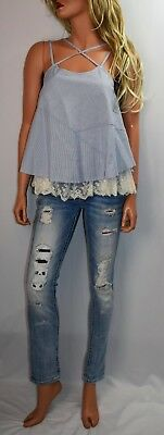 NWOT UMGEE USA Lace Trimmed Baby Doll Pinstriped Top  Size Small