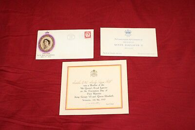 Queen Elizabeth Coronation Day items Royal Lancer Card and envelope 1953