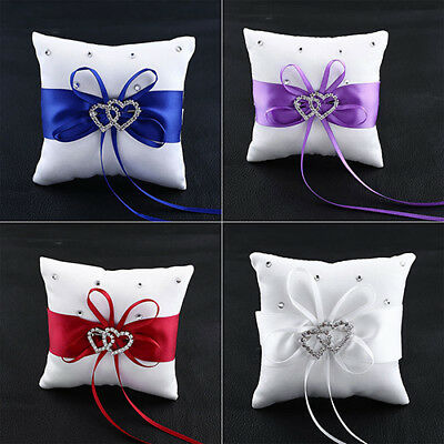 Wedding Bridal Ring Pillows Bowknot Double Heart Ring Bearer Pillow Cushion tall
