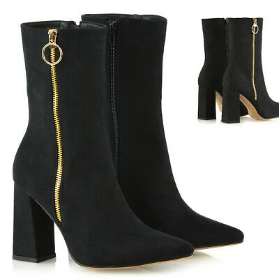 a74f8897050 Womens High Block Heel Pointed Mid Calf Booties Ladies Zip Up Ankle Boots  Shoes