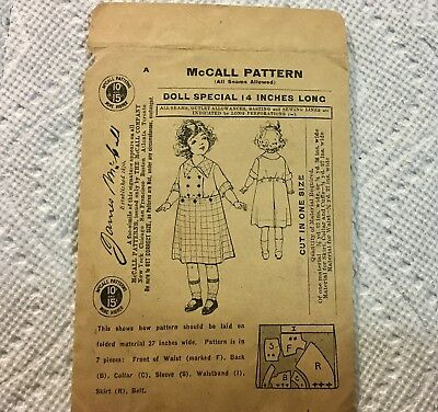 1908 Antique Vintage JAMES McCALL Sewing Pattern Doll Clothes size 14 VERY OLD