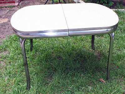 Vtg Metal & Formica Cracked Ice Top Dining / Breakfast Mid Century Table