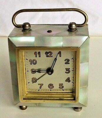 Art Deco Mother of Pearl Miniature Travelling Alarm Clock