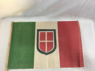 "Great Orig. Vint. c1910 Italy Glazed Cotton Flag on Stick  ~ 11 1/2"" x 17 1/2"""