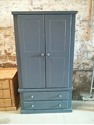 Handmade Dewsbury Gents 2 Drawer Wardrobe Midnight Assembled No Flat Packs!!!
