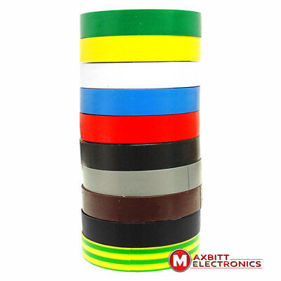 10 X 25M Electrical Insulation Tape Colour Coded Pvc Heavy Duty
