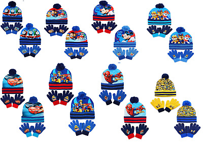 BOYS MARVEL AVENGERS WINTER POMPOM BOBBLE HAT AND GLOVE SET GOOD QUALITY