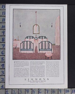 1923 Simmons Mattress Sleep Bedroom Interior Home Decor Vintage Art Ad  Cr35