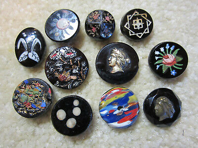 Lot Of Antique/ Victorian Black Glass Buttons/ Enamel Paint/ Metal Lady Heads