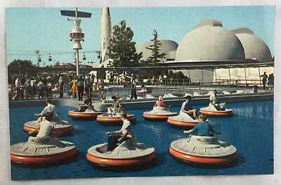 circa 1950s Vintage Disneyland Postcard The Magic Kingdom Flying Saucers Ride