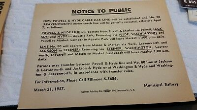 1957 Muni Railway Of San Francisco Notice Of Op. Changes, Powell & Hyde Line, 80
